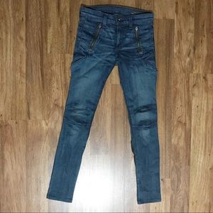 Rag & Bone Medium Blue Lamb Leather Skinny Jeans
